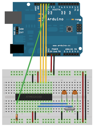 Programme ATmega328 on breadboard by using Arduino as ISP