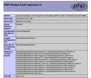 Phpinfo Example Screen Shot