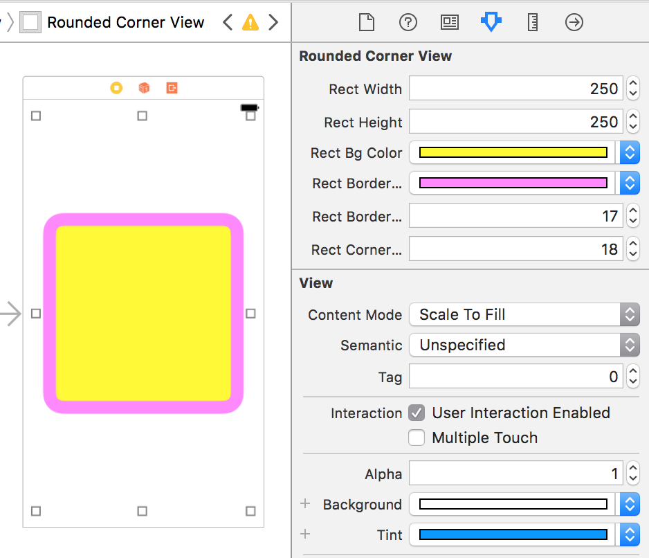 UIView With Rounded Background Designable In Storyboard