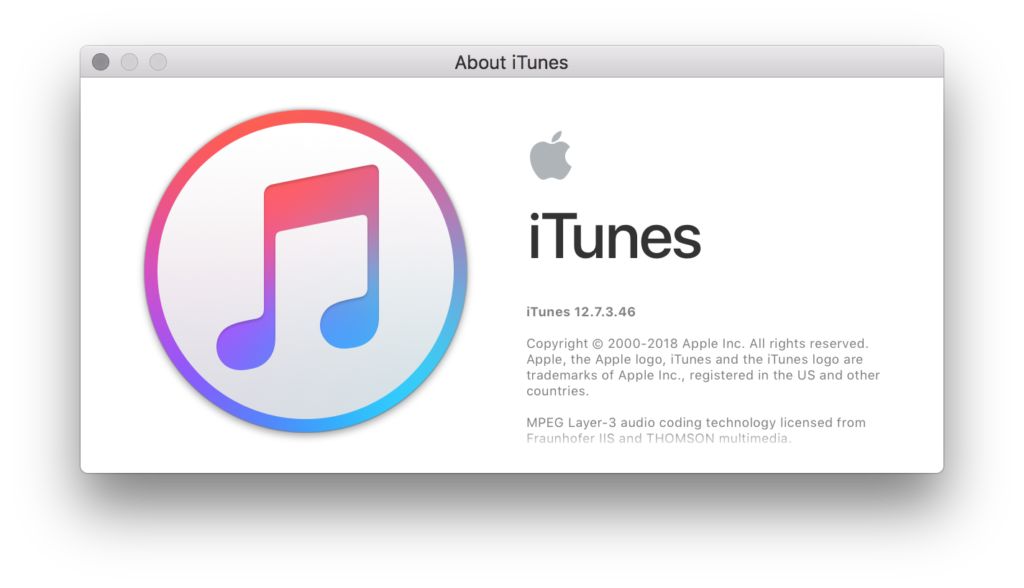 iTunes about screen